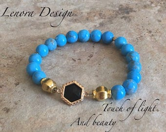 Turquoise  black onyx gold filed bracelet