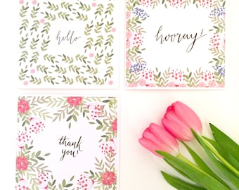 Set of 3 Floral Greetings Cards, Thank you Cards, Greeting Card Set.