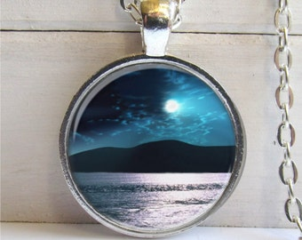 Moonrise Photo Pendant Wearable Art Charm Necklace