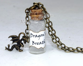 Dragon Necklace, Dragon's Breath Bottle Necklace and Dragon Charm, Dragonheart, Smaug, Maleficent, Once Upon a Time Jewelry, Hobbit Jewelry