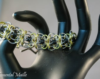 Silver, Black, and Green Coiled Butterfly Chainmaille Bracelet