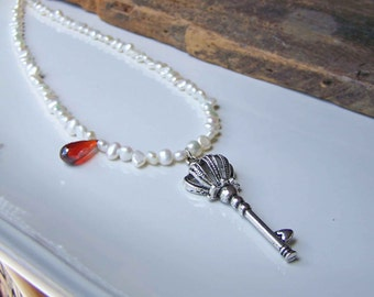 Beaded Freshwater Pearl Necklace with Red Quartz and Imitation Key, Skeleton Key Necklace, Pearl Necklace, Game of Thrones