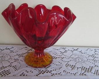 Amberina Pedestal Bowl 7x7x3 1/2