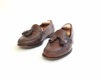 Vintage Mens 10 Polo Ralph Lauren Loafers Loafer Bench Made Shoes Handmade  Brown Leather Tassel Boat Dress Shoes Oxfords Hipster Work Wear