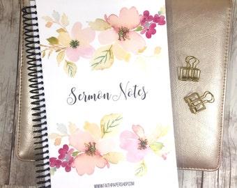 Sermon Notes Journal - Scripture Journal, Bible Study, Prayer Journal, Bible Verse, Illustrated Faith, Bible Journal, Christian Gift.