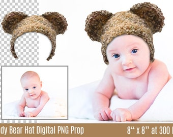 Newborn, Baby, Toddler Child, Teddy Bear Hat - Transparent PNG Digital Layer - Add to Your Photo Portrait - Photography Prop - Newborn Prop
