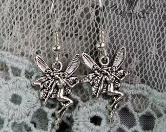 Gothic fairy, drop earrings in antique silver finish (Code ESP008)