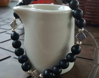 Black Howlite and Silver Bracelet
