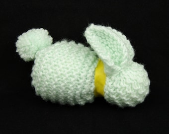 Hand-knitted Soft Baby Bunny - one toy mint green rabbit