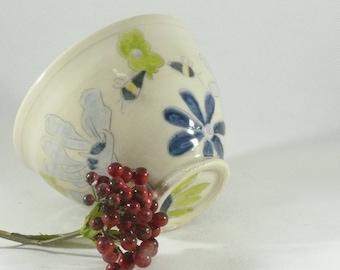 Ceramic soup bowl, Save the Bees Art, carved art bowl, key bowl, pottery bowl, kitchen decor, art vessel, dorm decor, ice cream bowl 138