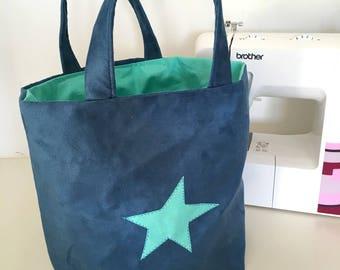 Romy blue tote bag mint inside