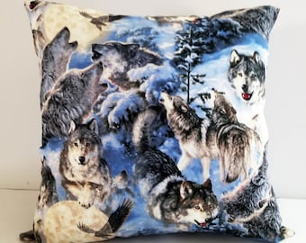 Wolf pillows/pillows with wolves/wolves pillows/pillows for boys/decorative pillows/wildlife pillows/wolf throw pillows/toss pillows