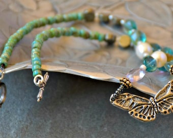 gemstone medley beaded mariposa necklace