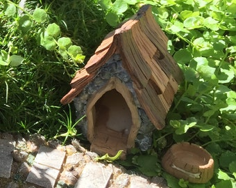 "Fairy Garden Dog House and Bowl, ""Shingletown"", Fairy Garden Accessory, Miniature Gardening, Home and Garden Decor, Topper, Gift"