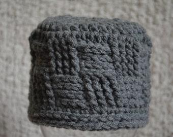 Crochet Grey Basket Weave Beanie Hat Photo Prop 0-3 Months