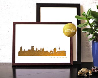 "Gold MUNICH Poster, MUNICH City Skyline, Munich ""love forever"" in gold, MUNICH trip, modern Munich artwork, gold artprint, birthday gift"
