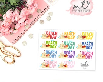 Beach Day || Planner Stickers || SKU 056