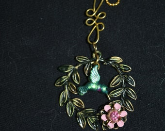 round leaves hand painted dangle hummingbird flowers 24 in chain green pink