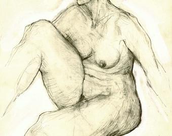 """Originalzeichnung, """"Hommage à Rubens XIII"""", Mischtechnik auf Papier, 59x42 cm"""