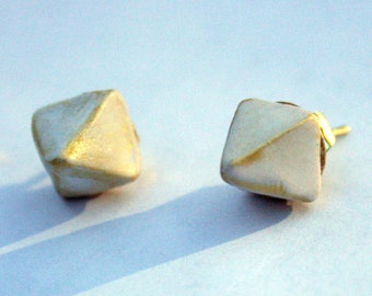 Gold and White Pyramid Stud Earrings