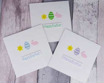 Pack of Easter cards, Handmade Individual Easter card, Easter egg card, Daffodil Easter card, Bunny Easter card, Rabbit Easter card