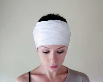 WHITE Head Scarf, Extra Wide Head Wrap, Lightweight Knit Head Scarf, White Headbands for Women, Boho Head Wrap, Boho Head Scarf for Women
