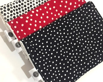 Baby Burp Cloths / Burp Rags Set / Baby Shower Gift / Baby Boy Gift/ Baby Girl Gift / Gender Neutral / Black Red White Polka Dots