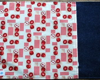 Door-utensils/doily placemat with zippered pocket / lunch/doily doily fabric apples/work/school/Zero waste doily doily