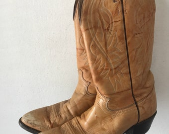 Orange leather cowboy boots Justin style , western  cowboy boots man size 9 1/2 -10.