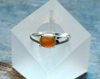 Peach Moonstone Ring ~ June Birthstone Ring ~ Side Set Oval Gemstone ~ Sterling Silver Statement Ring - Size 7