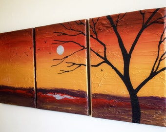 oil landscape Original vivid tree of life  beautiful painting impasto abstract triptych wall buy canvas art contemporary 48 x 20 ""
