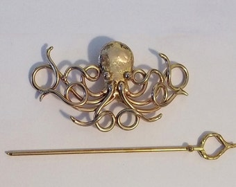 Bronze Octopus Barrette