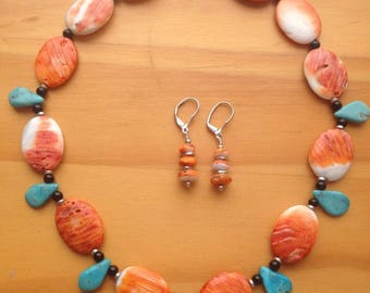 Natural Arizona Turquoise and Spiny Oyster necklace and earring set