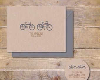 Tandem Bike Wedding Thank You Cards, Wedding Thank You Card, Tandem Bicycle, Tandem Bike Bridal Shower Thank You Cards
