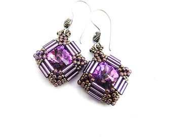 Amethyst Swarovski Crystal Rivoli Beaded Drop Earrings Handmade, Bali Silver ear hooks, Miyuki Bugle Beads