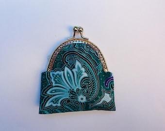 Green ethnic vintage fabric purse