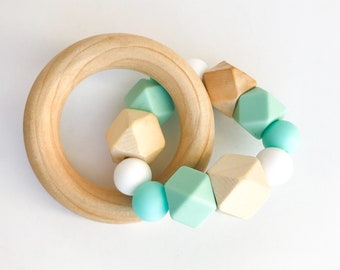 Teether Ring - hexagons & mint