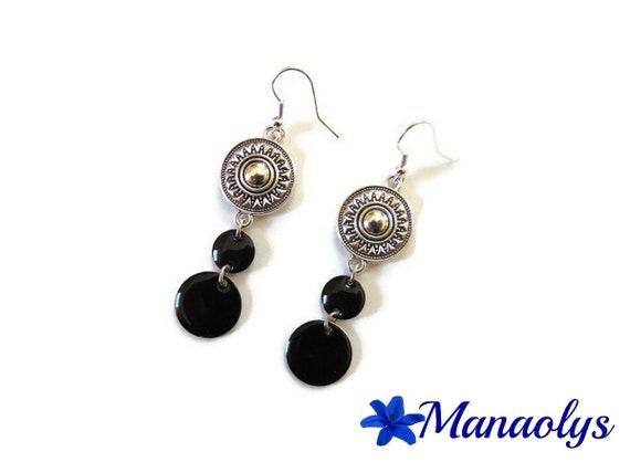 Ethnic earrings, enamel, black sequins earrings