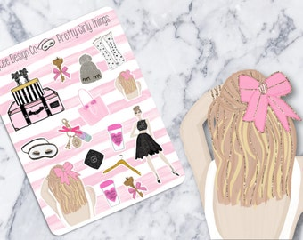 Pretty Girl Things Deco / Beauty / Hand Drawn / Planner Stickers / Scrapbook /  Fits Erin Condren & MAMBI/ Kikki K / FiloFax