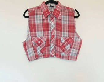 Red Plaid Crop Top Vintage Women's Red Plaid Cropped Button Down Top Vintage Shirt Red and White Plaid Crop Top Ladies Vintage Cropped Shirt