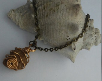 Handmade Spiral Wrapped River Rock Stone Pendant charm Necklace