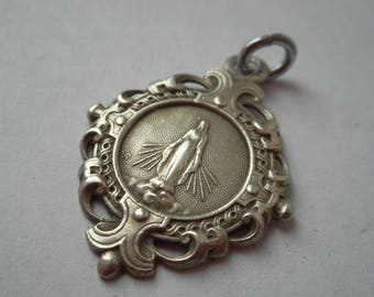 stunning rare 14 / may / 1912 French sterling silver religious necklace pendant