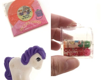 Vintage 1980's Erasers- Rubber My Little Pony, Bobby and Kate- Collectibke Rare Stationery Supplies