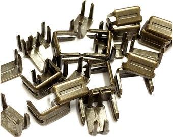 Zipper Repair Kit Solution - #7 Antique Brass Metal Bottom Stoppers for Spiral Slider Bottom Rescue Repair Fit Antique Brass Zipper #5, #7