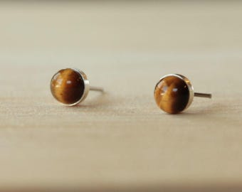 Tiger Eye Gemstone Titanium Stud Earrings / 6mm Cabochon Bezel Set / Hypoallergenic Earrings Studs