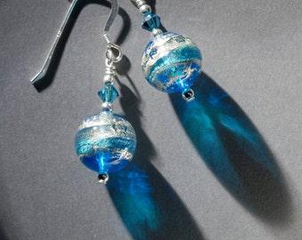 Murano glass earrings - round aqua beads