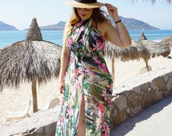 Swimsuit Cover-up, Beach Cover-up, Swim Cover-up    Wrap Front, Halter, Slit Front, Tie Neck Cover-up    Maxi Swimwear Dress    {Sophia}