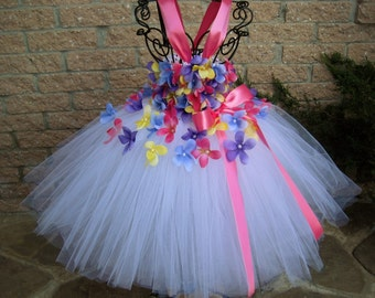 COLORFUL FLOWERS, WHITE Tutu Dress, Flower Girl Gown, Pageant Girl Dress, First Birthday Tutu, Pink, Purple, Yellow, Blue Tutu Dress