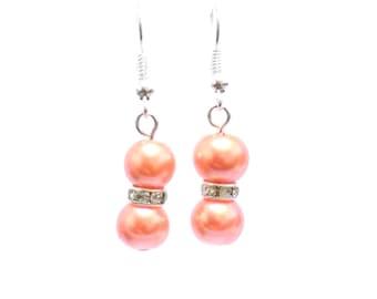 earrings, pearl earrings, orange earrings, dangle earrings, bridesmaid earrings, drop earrings, orange pearl earrings, beaded earrings