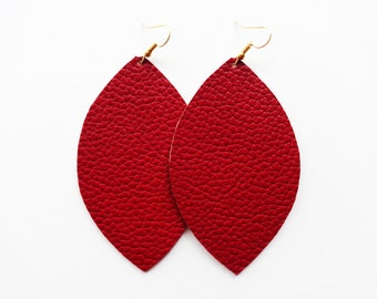 Maroon Vegan Leather Earrings / Extra Large Earring / Statement Earring / Leaf Earring / Long Earring / Modern Jewelry / Small Earring